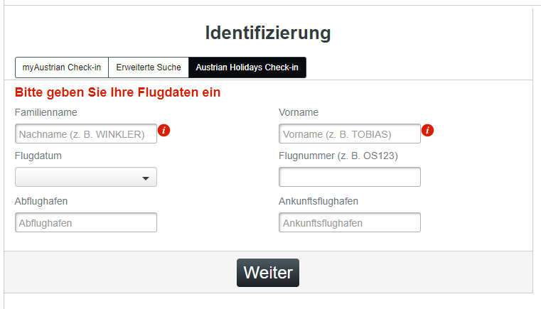 Austrian Airlines online check in