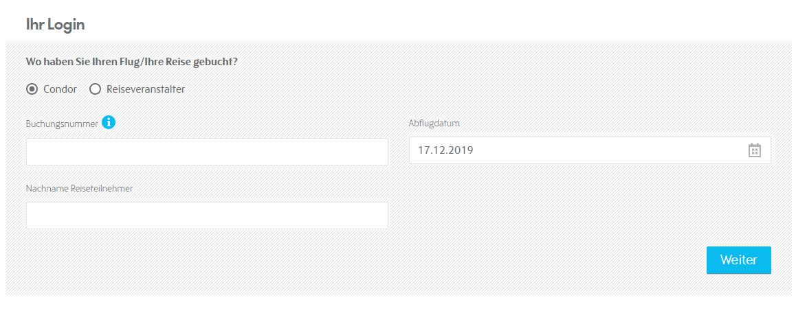 Condor online check in