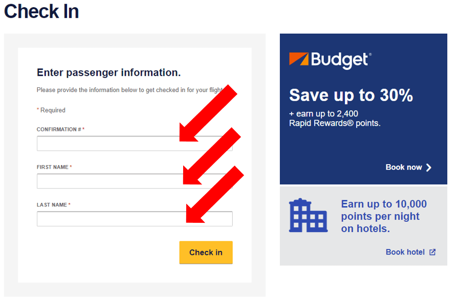 online check in southwest airline
